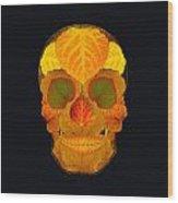 Aspen Leaf Skull 2 Black Wood Print