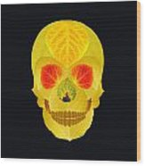 Aspen Leaf Skull 4 Black Wood Print