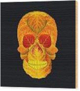 Aspen Leaf Skull 6 Black Wood Print