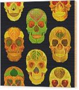 Aspen Leaf Skulls Poster 2014 Black Wood Print