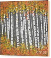 Aspen Trees Wood Print by Elena  Constantinescu
