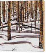 Aspens In Winter Wood Print by Claudette Bujold-Poirier