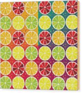 Assorted Citrus Pattern Wood Print