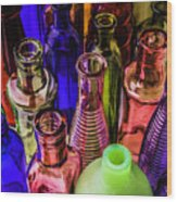 Assorted Colored Bottles Wood Print