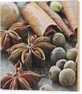 Assorted Spices Wood Print