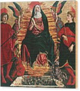Assumption Of Mary With Sts Minias And Julian Wood Print