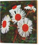 Asters Bright And Bold Wood Print