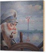 Astounding Sea Captain Original Or Map Captain 1987 Wood Print