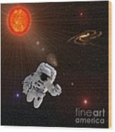 Astronaut And Sun With Stars Wood Print