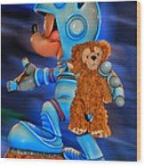 Astronaut Training Bear Wood Print