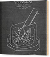 Astronomical Telescope Patent From 1943 - Dark Wood Print