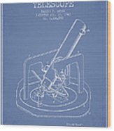 Astronomical Telescope Patent From 1943 - Light Blue Wood Print