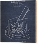 Astronomical Telescope Patent From 1943 - Navy Blue Wood Print