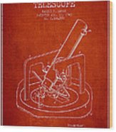 Astronomical Telescope Patent From 1943 - Red Wood Print