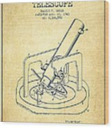 Astronomical Telescope Patent From 1943 - Vintage Wood Print