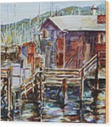 At Monterey Wharf Ca Wood Print