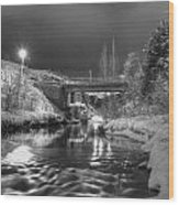 At Night By River. Wood Print