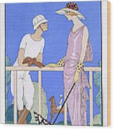 At Polo Wood Print by Georges Barbier
