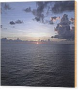 At Sea -- A Sunrise Begins Wood Print
