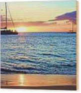 At Sea Sunset Wood Print
