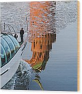 At The Background Of Moscow Kremlin - Featured 3 Wood Print