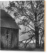 At The Barn In Bw Wood Print by Julie Dant