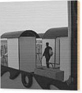 At The Beach - Monochrome Wood Print