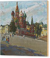 At The Cathedral Of Vasily The Blessed Wood Print