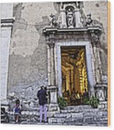 At The Church - Child's Curiosity - Sicily Wood Print