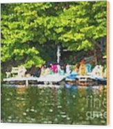 At The Cottage Dock Wood Print