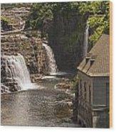 At The Falls In Ausable Ny Wood Print