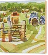 At The Farm Baling Hay Wood Print