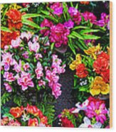 At The Flower Market  Wood Print