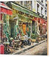 At The Restaurant In Paris Wood Print