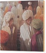 At The Temple Entrance, 2012 Acrylic On Canvas Wood Print