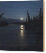 Athabasca River Moonrise Wood Print