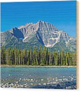 Athabasca River With Mountains Wood Print