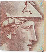 Athena On Banknote Wood Print