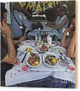 Athenians Eat Lunch Wood Print