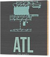 Atl Atlanta Airport Poster 2 Wood Print by Naxart Studio
