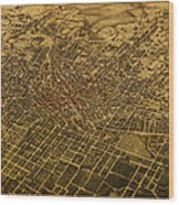 Atlanta Georgia City Schematic Street Map 1892 On Recovered Worn Parchment Paper Wood Print