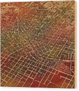 Atlanta Georgia City Street Map Watercolor From 1892 On Recovered Worn Parchment Paper Wood Print