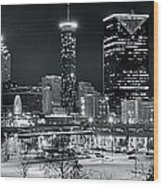 Atlanta Panoramic Black And White Wood Print