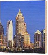 Atlanta Skyline At Dusk Midtown Color Panorama Wood Print