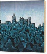 Atlanta Skyline Geometry 3 Wood Print