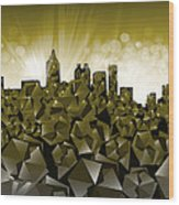 Atlanta Skyline Geometry Wood Print