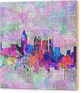Atlanta Skyline Watercolor 4 Wood Print