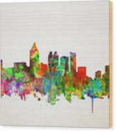 Atlanta Skyline Watercolor Wood Print