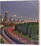 Atlanta Sundown Night Lights Art Wood Print