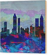 Atlanta Watercolor Skyline Wood Print